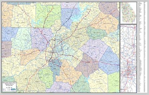 map of atlanta with exits wall map metro atlanta region laminated