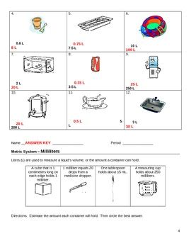 worksheet metrics liters  milliliters  jjms tpt
