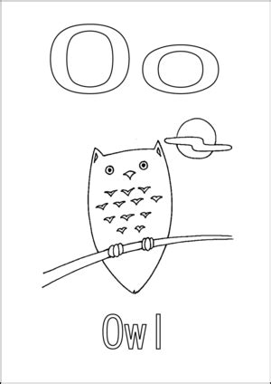 O The Owl Coloring Page by O Is For Owl Coloring Page