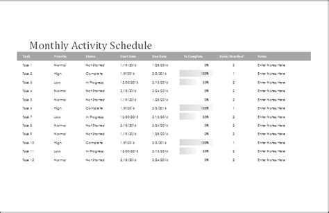 schedule of activities template 4 ms word excel customizable schedule templates word