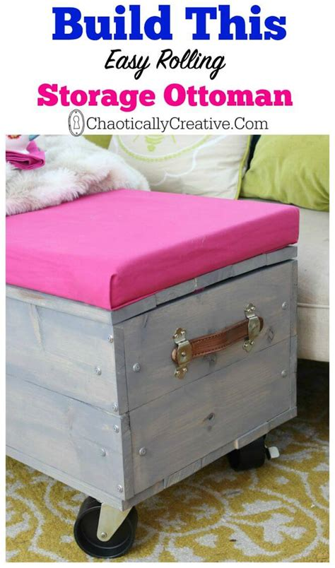 Diy Storage Ottoman Plans Diy Rolling Storage Ottoman Chaotically Creative