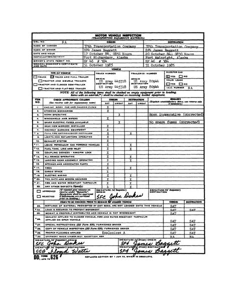 motor vehicle inspection figure 3 1 completed dd form 626 motor vehicle