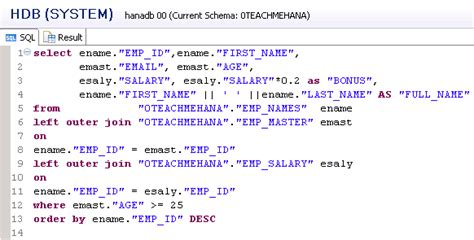 sql query join tutorial complete sap hana sql script tutorial 9 9 sql join