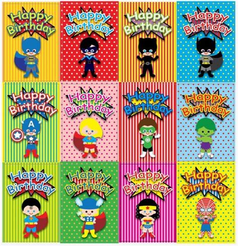 superhero 5 x 7 inch birthday cards pdf digital file