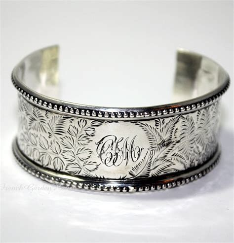 French Country House Designs by Antique 19th Century Sterling Silver Cuff Bracelet C I M