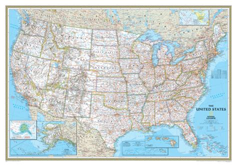 large us map for wall national geographic classic united states wall map large