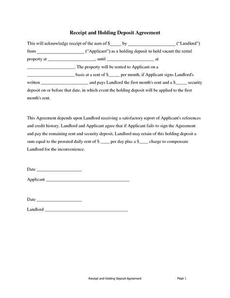 deposit agreement template 10 best images of security deposit receipt agreement
