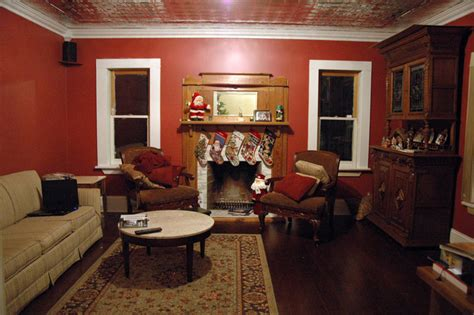 Tin Room by Tinceiling Tiles Original Mantle Built In Entertainment