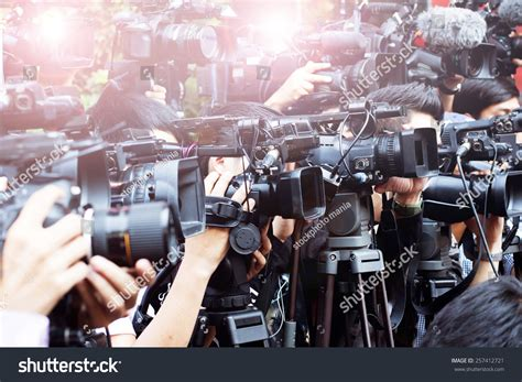 Press And Media Photographer On Press And Media Photographer On Duty In News Coverage Event For Reporter And