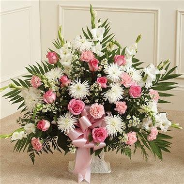 pink flower floor l pink white sympathy floor basket 1 800 flowers 4 gift