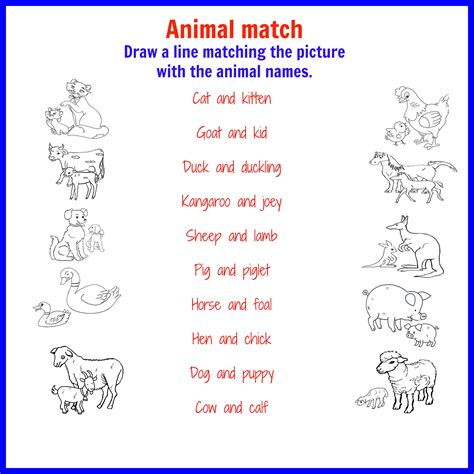printable animal words baby animals names worksheet worksheets for all download