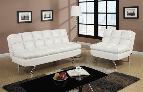 couch and associates f7015 white convertible sofa bed by poundex