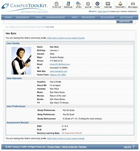 personal profile sle student c45ualwork999 org