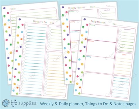 Printable Planner Pages Etsy | hazel fisher creations rainbow colours and free printable