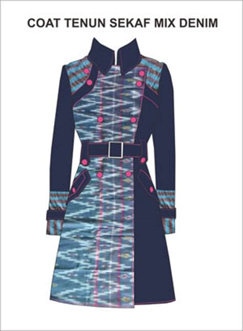 Jahit Blazer Coat Tenun Sekaf Kombinasi Denim Rumah Jahit Haifa