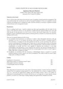 Methodology Outline by Qualitative Research Methods Doctoral Course In Management 2012 Outli