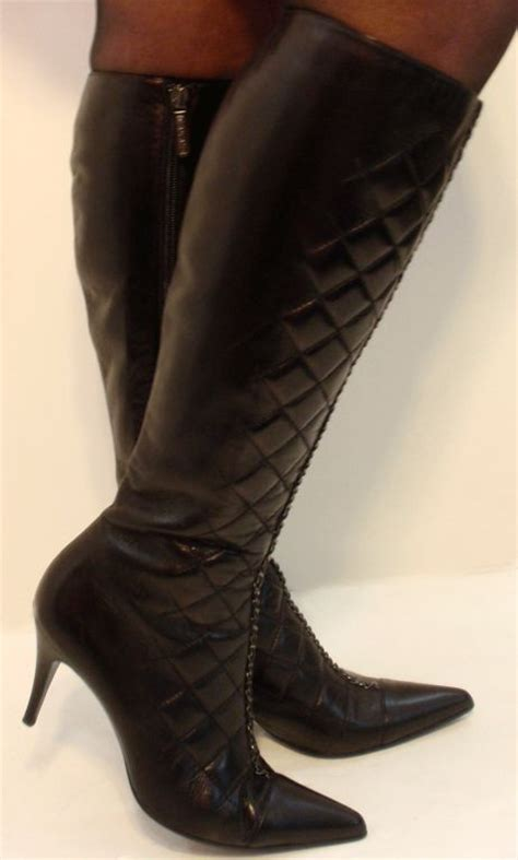 chanel black leather quilted knee boots 37 5 7 at 1stdibs