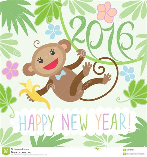 new year greeting card monkey new year card with monkey stock vector image 62516121