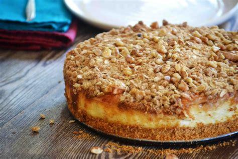 caramel apple crisp cheesecake the secret recipe club baked new england