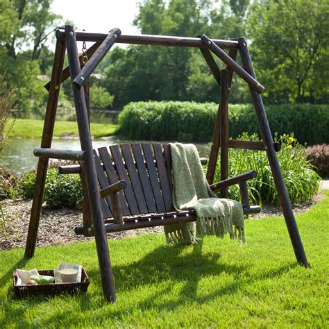 lawn swing coral coast rustic torched log curved back porch swing and