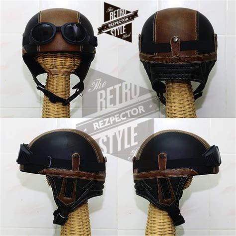 jual beli helm retro klasik chips hitam cokelat vespa