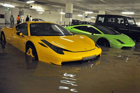 flood damaged exotic cars  orchard road area singapore