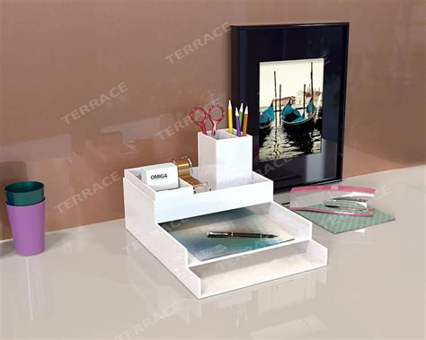 Home Office Desk Accessories Acrylic Stationery Desk Accessories Organizer Lucite Home Office File Letter Tray Perspex