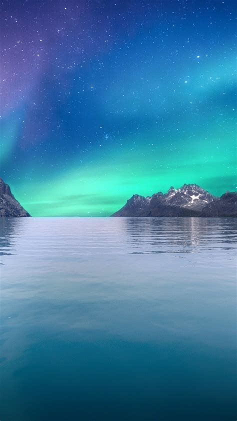 wallpaper aurora borealis northern lights seascape