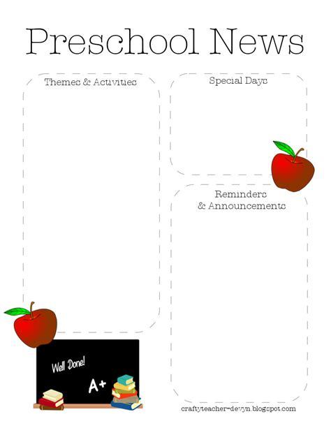 preschool newsletter templates the crafty preschool newsletter template 2