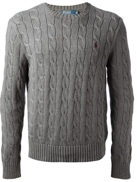 polo knit sweater polo ralph cable knit sweater in gray for lyst