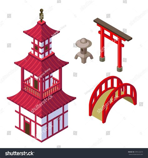 Gamis Set Jipon Premium Black royalty free japanese architecture isometric set