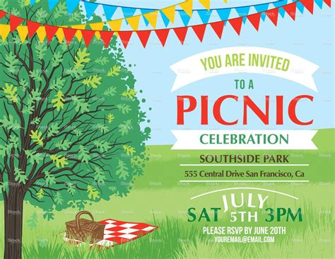 Summer Picnic And Bbq Invitation Flyer Or Template Text Is On Its Picnic Invitations Free Church Picnic Flyer Templates