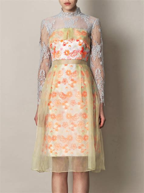 embroidered organza dress erdem leticia embroidered organza overlay dress for