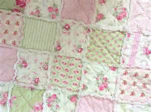 shabby chic rag quilt patchwork slipper roses pink and green