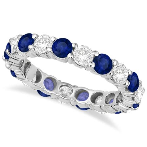 6 50ct Blue Sapphire eternity blue sapphire ring band 14k white gold