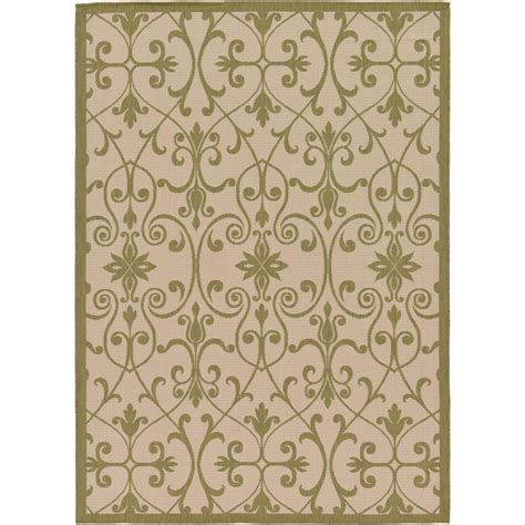 Green And Beige Area Rugs Unique Loom Outdoor Beige And Green 7 Ft X 10 Ft Area Rug 3126609 The Home Depot