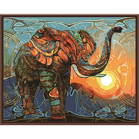 acrylic painting kit india frameless vintage painting elephant diy painting by