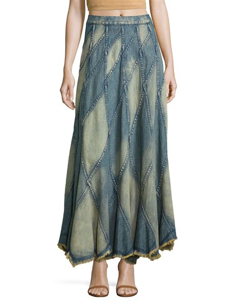 Denim Patchwork Skirt - patchwork denim maxi skirt in blue