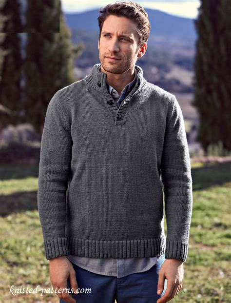 free knit pattern mens sweater button neck sweater knitting pattern free