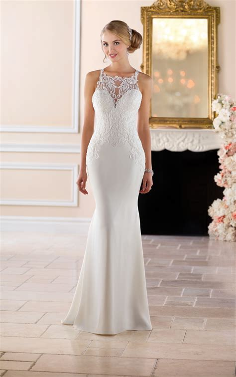 Discover New Designers Stella B by Stella York 6404 High Neck Sheath Wedding Dress Lace