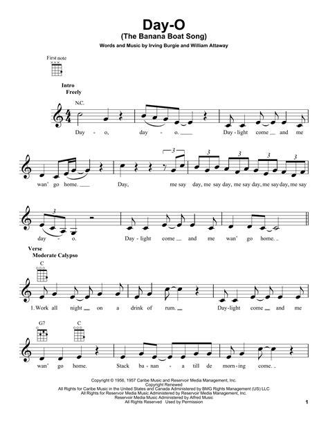 banana boat song lyrics day o the banana boat song sheet music direct