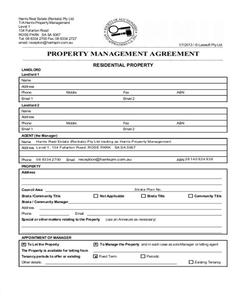 management services agreement template sle commercial property management agreement 6