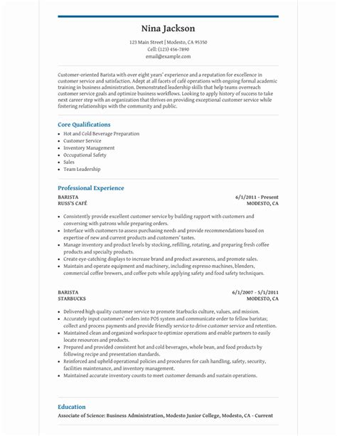 Barista Resume by Barista Resume Template For Microsoft Word Livecareer