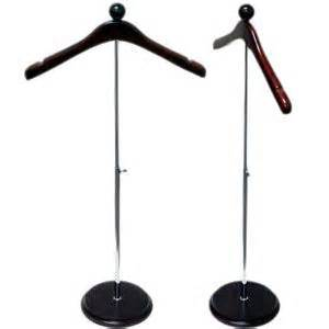 Adjustable countertop stand with notched coat hanger and wood base