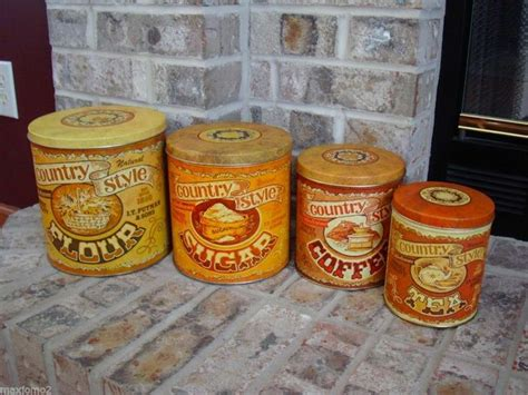 country style canister sets vintage tin canister set quot country style quot j t putnam sons