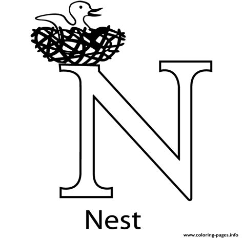 N For Nest Coloring Page by N For Nest Free Alphabet S7bc0 Coloring Pages Printable