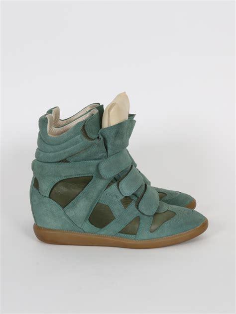 marant green sneakers marant 80 mm suede wedge green sneakers 41