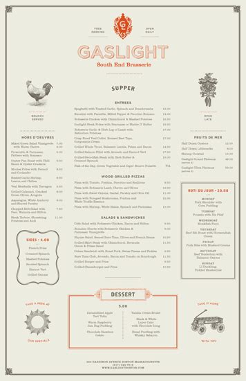 one page layout menu links gaslight menus tinge design