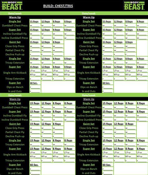 beast workout sheet beast workout tracker sheet workout