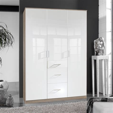 100 Enchanting Three Sliding White Alton Wardrobe In High Gloss White And Oak With 3 Door 3